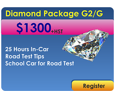 Diamond package 25 In Car Lessons and car for Road Test
